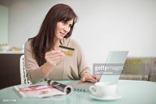 Older woman shopping online