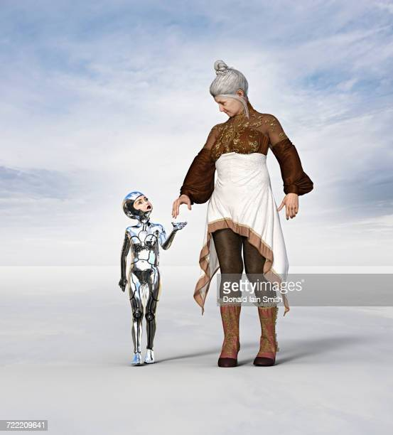 Older woman walking with female girl cyborg