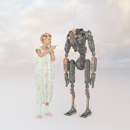 Older woman with robot - gettyimageskorea