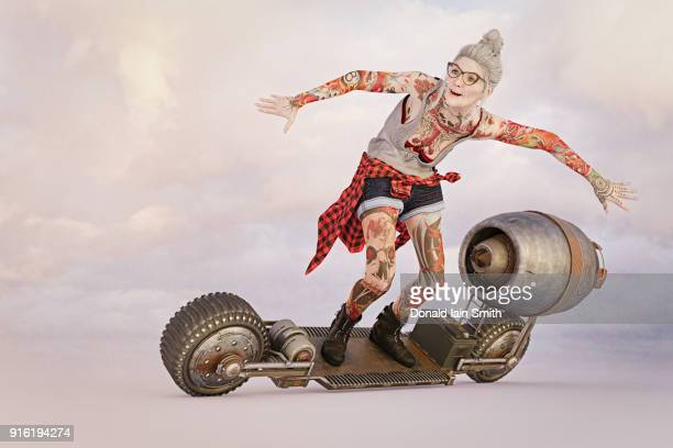Older woman with tattoos riding futuristic skateboard