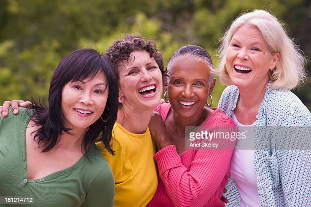 Older Women Walking Together Outdoors