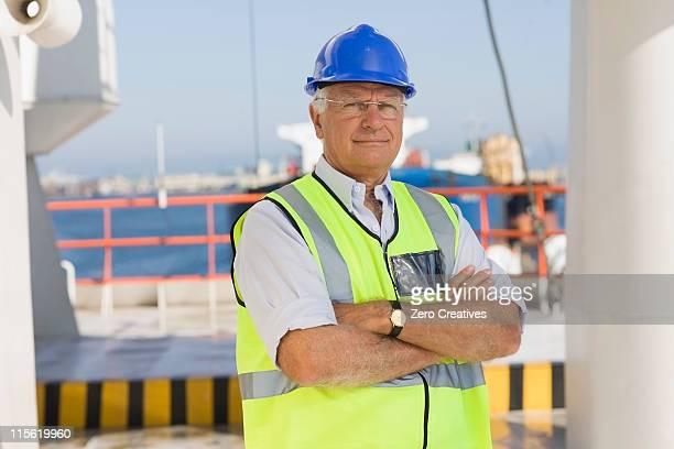 Older worker on ship