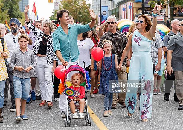 Oldest son Xavier James Trudeau, Prime Minister of Canada Justin Trudeau, youngest son Hadrien Trudeau, daugther Ella-Grace Margaret Trudeau and wife...