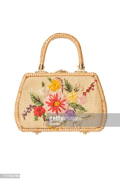 old-fashioned bag - wicker stock pictures, royalty-free photos & images