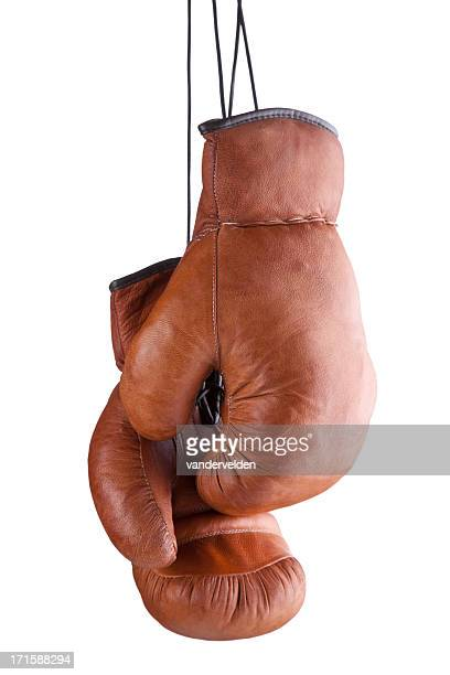 old-fashioned boxing gloves - boxing gloves stock photos and pictures