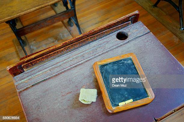Old-Fashioned Desk and Chalkboard