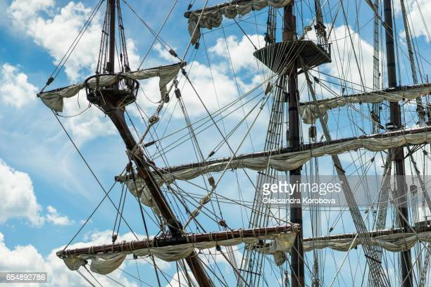 old-fashioned galleon, a vintage sail ship - pirate ship stock photos and pictures