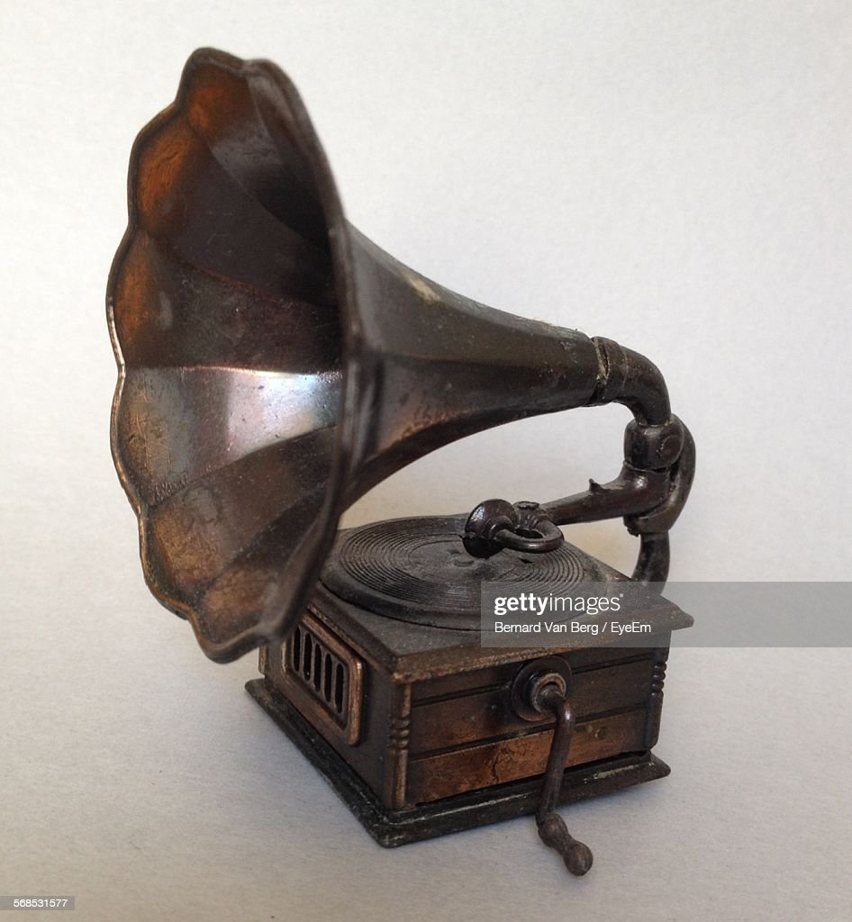 Old-Fashioned Gramophone Against White Background : Stock Photo