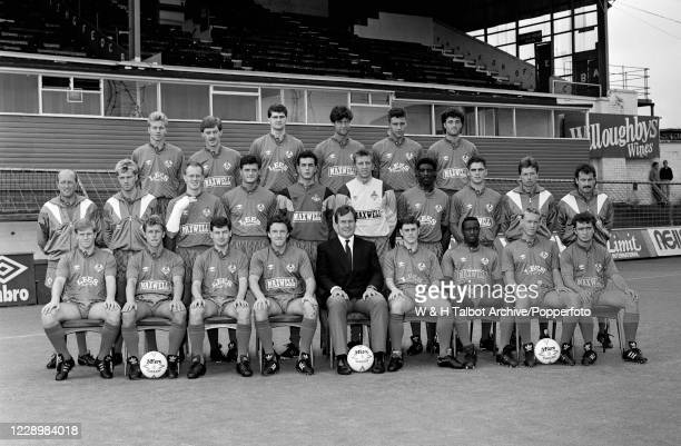 Oldham Athletic line up for a team photograph at Boundary Park in Oldham, England, circa August 1988. Back row : Neil Edmonds, Garry Hoolickin, Ian...