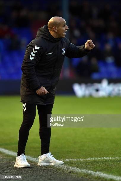 Oldham Athletic manager Dino Maamria during the Sky Bet League 2 match between Oldham Athletic and Carlisle United at Boundary Park Oldham on...