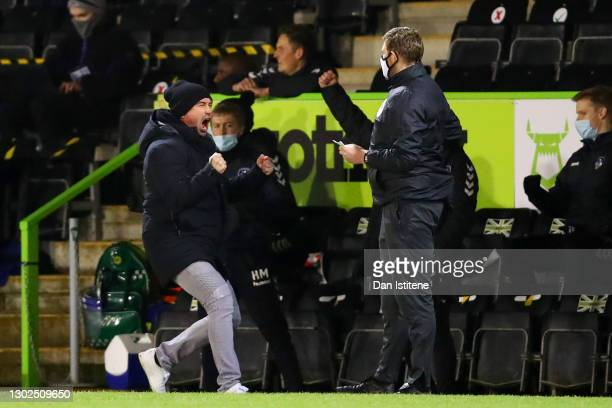 Oldham Athletic manager Harry Kewell celebrates his team's third goal during the Sky Bet League Two match between Forest Green Rovers and Oldham...