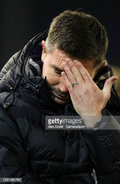 Oldham Athletic manager Harry Kewell reacts during the Sky Bet League Two match between Oldham Athletic and Bolton Wanderers at Boundary Park on...
