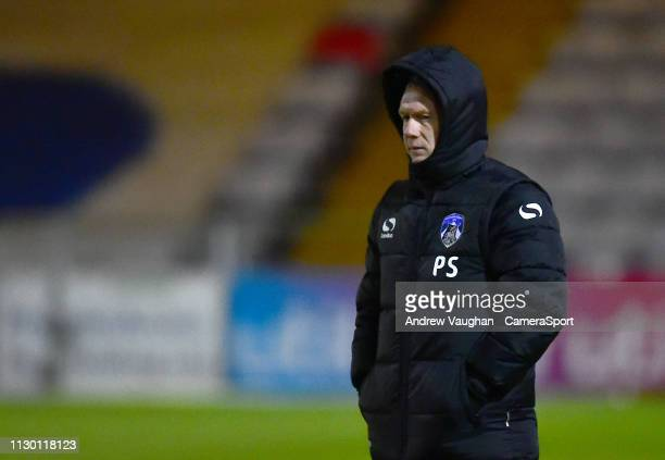 Oldham Athletic manager Paul Scholes during the prematch warmup prior to the Sky Bet League Two match between Lincoln City and Oldham Athletic at...
