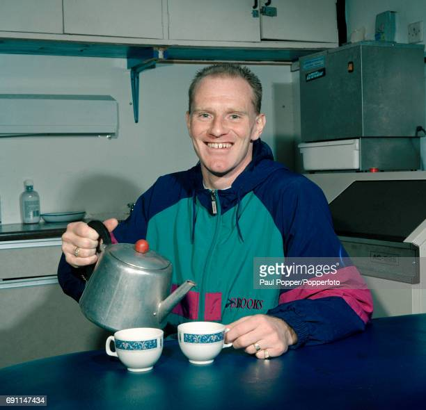 Oldham Athletic striker Andy Ritchie making a brew after training circa April 1990