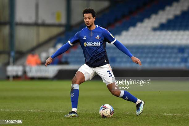 Oldham Athletic's Cameron Borthwick-Jackson during the Sky Bet League 2 match between Oldham Athletic and Salford City at Boundary Park, Oldham,...