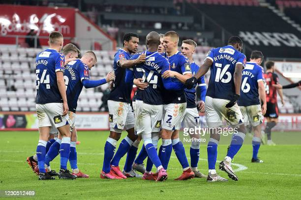Oldham Athletic's Dylan Bahamboula celebrates scoring a penalty during the FA Cup match between Bournemouth and Oldham Athletic at the Vitality...