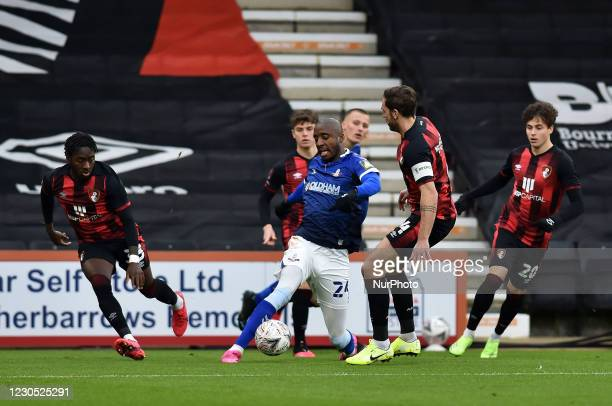 Oldham Athletic's Dylan Bahamboula in action during the FA Cup match between Bournemouth and Oldham Athletic at the Vitality Stadium, Bournemouth on...