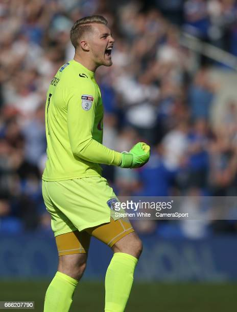 Oldham Athletic's goalkeeper Connor Ripley celebrates his sides second goal during the Sky Bet League One match between Oldham Athletic and Fleetwood...