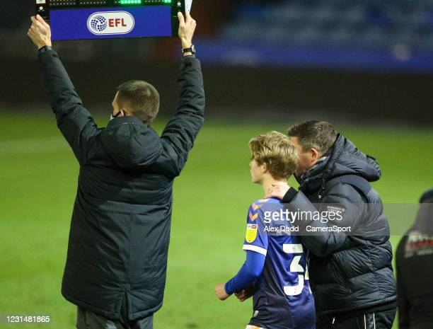 Oldham Athletic's Harry Vaughan prepares to come on during the Sky Bet League Two match between Oldham Athletic and Bolton Wanderers at Boundary Park...