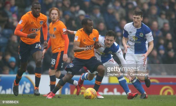 Oldham Athletic's Johnny Placide and Blackburn Rovers' Derrick Williams during the Sky Bet League One match between Blackburn Rovers and Oldham...