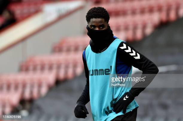 Oldham Athletic's Junior Luamba during the FA Cup match between Bournemouth and Oldham Athletic at the Vitality Stadium, Bournemouth on Saturday 9th...