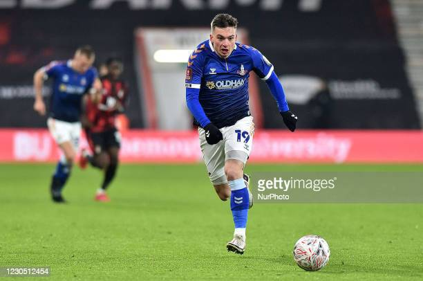 Oldham Athletic's Zak Dearnley during the FA Cup match between Bournemouth and Oldham Athletic at the Vitality Stadium, Bournemouth on Saturday 9th...