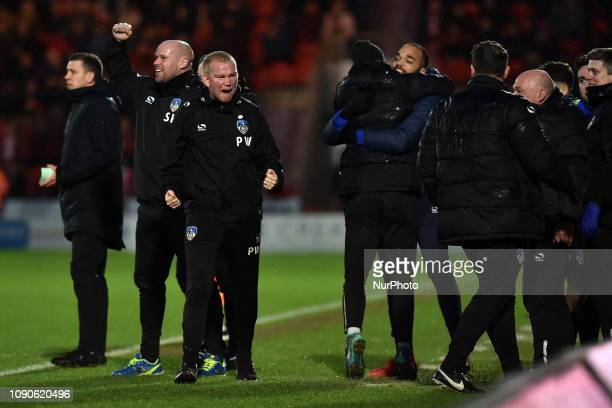 Oldham's caretaker Peter Wild celebrates after Peter Clarke levelled the scoresl during the FA Cup match between Doncaster Rovers and Oldham Athletic...