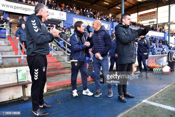 Oldham's Dino Maamria and Burton Albion's Nigel Clough before the FA Cup 2nd Round match between Oldham Athletic and Burton Albion at Boundary Park...