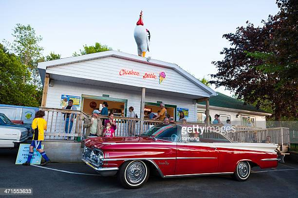 oldsmobile super 88 in front of ice cream parlor - bedford nova scotia stock pictures, royalty-free photos & images