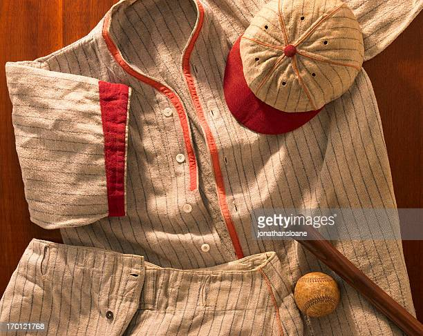 old-time wool baseball uniform with cap, pants and bat - baseball sport stock pictures, royalty-free photos & images