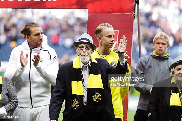 AIK oldtimer Ake Jigstedt 96 years during the Allsvenskan match between AIK and Gefle IF at Friends arena on September 18 2016 in Solna Sweden