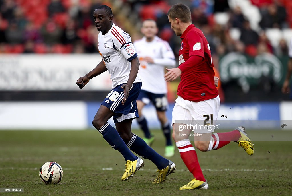 Olduwasanmi Odelusi of Bolton advances with the ball during the npower Championship match between Charlton Athletic and Bolton Wanderers at the Valley on March 30, 2013 in London, England.
