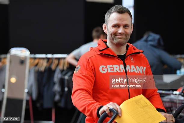 Ole Bischof vicepresident of the DOSB smiles at the 2018 PyeongChang Olympic Games German Team kit handover at Postpalast on January 15 2018 in...