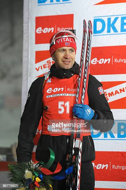 Ole Einar Bjoerndalen of Norway after the men's sprint in the e.on Ruhrgas IBU Biathlon World Cup on January 14, 2010 in Ruhpolding, Germany.