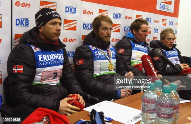 Ole Einar Bjoerndalen of Norway announces at a press conference that he and his team mates Alexander Os Emil Hegle Svendsen and Tarjei Boe will...