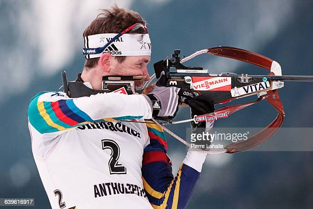 Ole Einar Bjoerndalen of Norway at the shooting range during a 15 km World Cup Mass Start