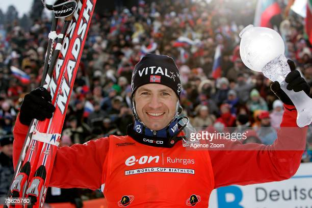 Ole Einar Bjoerndalen of Norway celebrates after competing during the IBU Biathlon World Cup Final's March 18 2007 in Khanty Mansiysk Russia