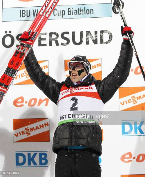 Ole Einar Bjoerndalen of Norway celebrates after winning the men's 125 km Persuit during the IBU Biathlon World Cup on December 5 2010 in Ostersund...