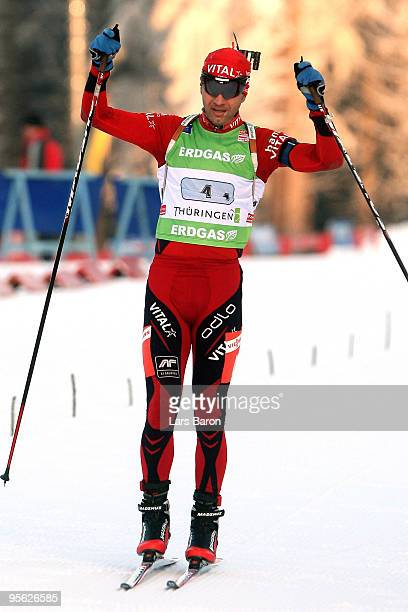 Ole Einar Bjoerndalen of Norway celebrates after winning the Men's 4 x 7,5km Relay in the e.on Ruhrgas IBU Biathlon World Cup with team mates Halvard...