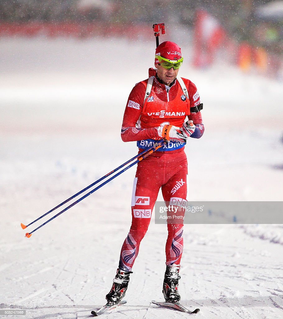 Ole Einar Bjoerndalen of Norway comes into the finish dejected and in last position during the Men's 15km Biathlon race of the Ruhpolding IBU Biathlon World Cup on January 16, 2016 in Ruhpolding, Germany.
