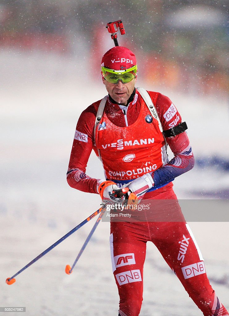 Ole Einar Bjoerndalen of Norway comes into the finish in last position during the Men's 15km Biathlon race of the Ruhpolding IBU Biathlon World Cup on January 16, 2016 in Ruhpolding, Germany.