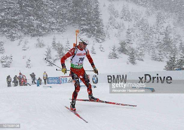 Ole Einar Bjoerndalen of Norway competes during the mens 10 km sprint event in the IBU Biathlon World Cup on December 10 2010 in Hochfilzen Austria