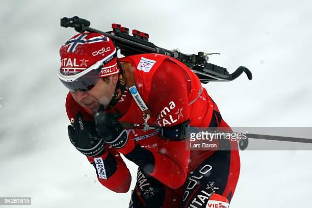 Ole Einar Bjoerndalen of Norway competes during the Men's 10 km Sprint in the IBU Biathlon World Cup on December 11 2009 in Hochfilzen Austria