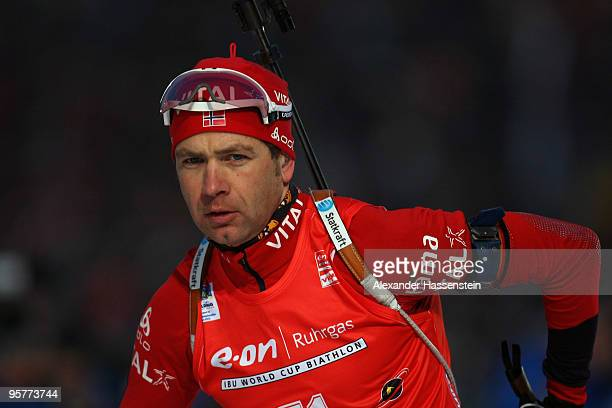 Ole Einar Bjoerndalen of Norway competes during the Men's 10km Sprint in the eon Ruhrgas IBU Biathlon World Cup on January 14 2010 in Ruhpolding...