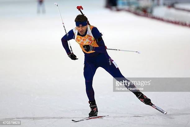 Ole Einar Bjoerndalen of Norway competes in the 2 x 6 km Women + 2 x 7 km Men Mixed Relay during day 12 of the Sochi 2014 Winter Olympics at Laura...
