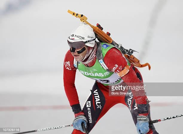 Ole Einar Bjoerndalen of Norway competes in the men's 10 km Sprint during the IBU Biathlon World Cup on December 4 2010 in Ostersund Sweden