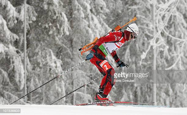 Ole Einar Bjoerndalen of Norway competes in the men's 125 km Persuit during the IBU Biathlon World Cup on December 5 2010 in Ostersund Sweden