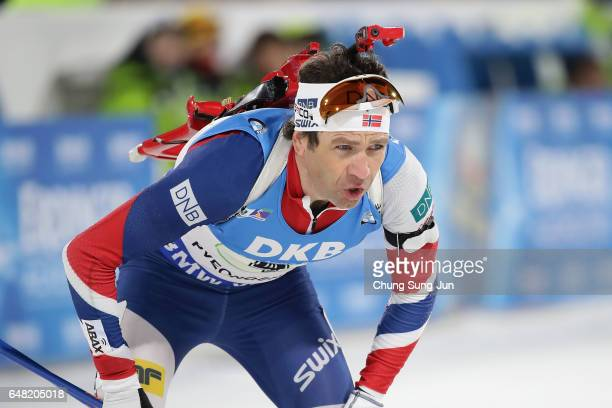 Ole Einar Bjoerndalen of Norway competes in the Men's 4x75km Relay during the BMW IBU World Cup Biathlon 2017 test event for PyeongChang 2018 Winter...