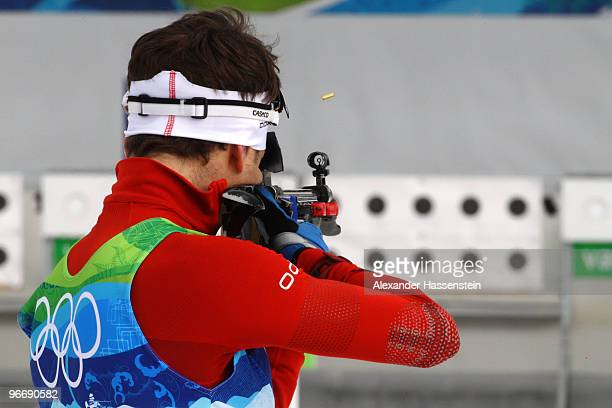 Ole Einar Bjoerndalen of Norway competes in the men's biathlon 10 km sprint final on day 3 of the 2010 Winter Olympics at Whistler Olympic Park...