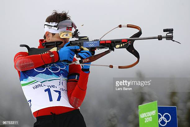 Ole Einar Bjoerndalen of Norway competes in the men's biathlon 125 km pursuit on day 5 of the 2010 Vancouver Winter Olympics at Whistler Olympic Park...